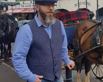 Irish tweed waistcoat - Peaky Blinders vest - speckled navy&blue herringbone - 100% wool - lined- ready for shipping - HANDMADE IN IRELAND