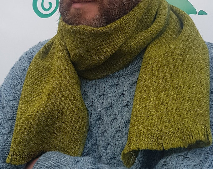 Irish tweed wool scarf - 100% pure new wool - olive/lime green / grey - unisex -hand fringed - HANDMADE IN IRELAND