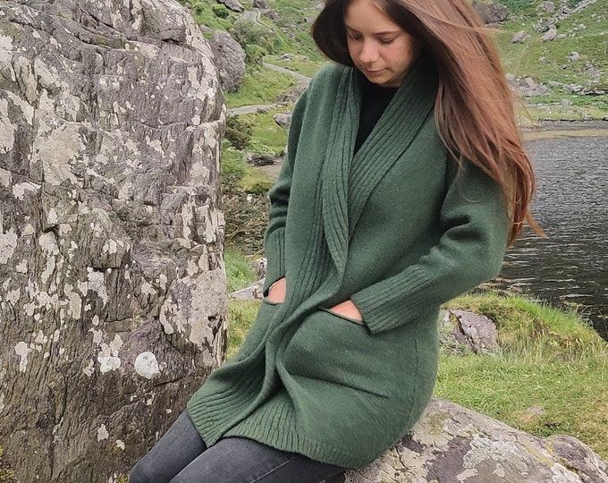 Rib Edge Knitted Long Ladies Jacket with Pockets - 100% Pure New Soft Lambswool -  Moss Green - really warm & chunky - HANDMADE IN IRELAND