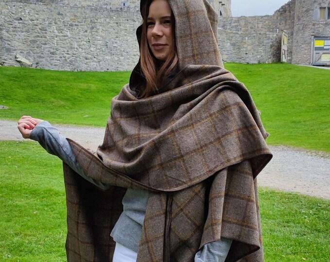 Hooded Irish Lambswool Tweed Ruana, Wrap, Cape, Rectangle Cloak- Grey - brown/mustard yellow check - 100% Pure New Wool -HANDMADE IN IRELAND