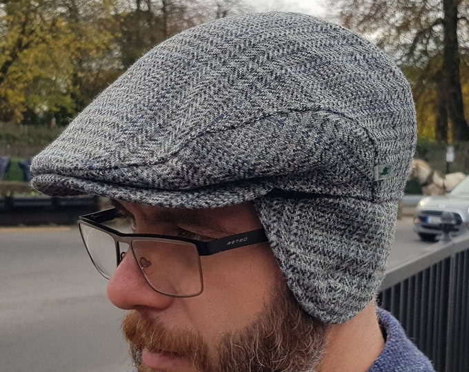 Traditional Irish tweed flat cap - grey/blue tartan , plaid check - 100% wool -padded - with foldable ear flaps -HANDMADE IN IRELAND