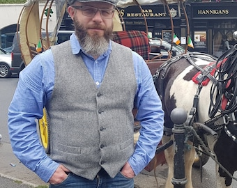 Irish tweed waistcoat - black&white herringbone - Peaky Blinders vest - 100% wool - lined- ready for shipping - HANDMADE IN IRELAND