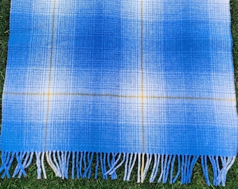 Traditional Irish blanket/throw - shadow check -blue/yellow/white - 100% pure new wool - thick & heavy - 3 sizes available - MADE IN IRELAND