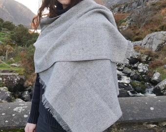 Irish tweed shawl,oversized scarf,stole,wrap -grey & white herringbone - 100% wool - hand fringed - ready for shipping - HANDMADE IN IRELAND