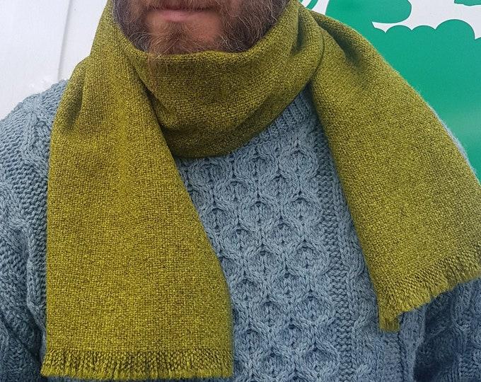 Irish tweed wool scarf - 100% pure new wool - olive/lime green / grey - unisex -hand fringed - HANDMADE IN IRELAND