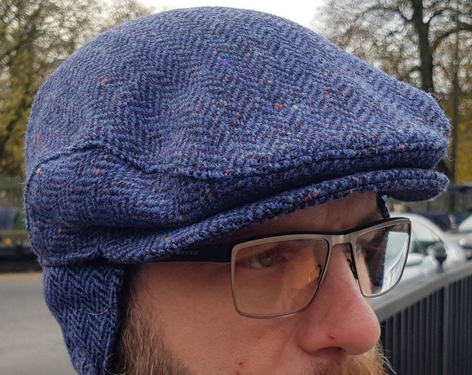 Traditional Irish tweed flat cap - speckled blue/navy herringbone - 100% wool -padded - with foldable ear flaps -HANDMADE IN IRELAND
