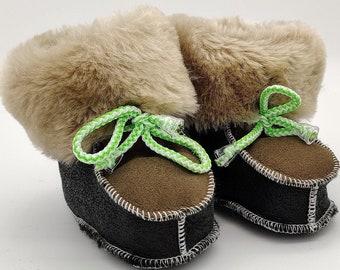 Baby booties - 100% sheepskin - super cute and adorable - HANDMADE IN IRELAND