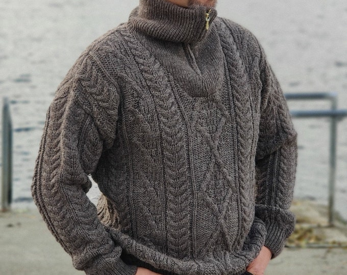 Organic Irish Wool Aran Zip Sweater - Dark Jacob - Undyed - 100% pure new wool - chunky and heavy - MADE IN IRELAND