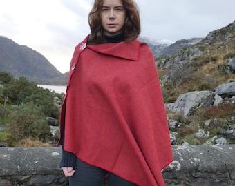 Versatile 3in1-Irish tweed poncho, cape & shawl - red - 100% wool - ready for shipping - Handmade in Ireland