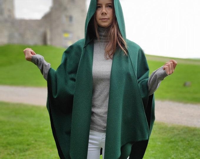 Irish Woven Wool Cape, Ruana, Wrap, Rectangle Cloak - 100% Pure New Wool - Emerald Green - HANDMADE IN IRELAND