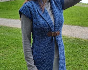 Irish Aran Knitted Sleeveless Jacket / Gilet / Tunic -  With Buckle - Blue - 100% Pure New Wool - MADE IN IRELAND