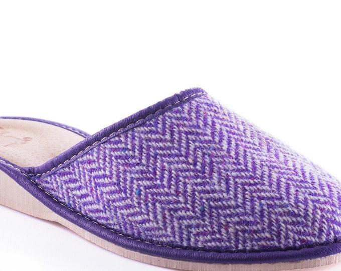 Womens Irish tweed & leather slippers - purple/white herringbone - HANDMADE IN IRELAND