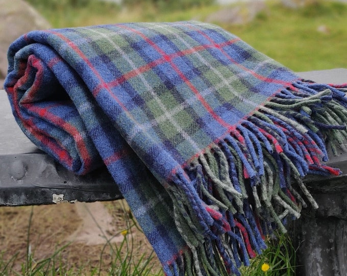 """Parkland Plaid Check - blanket / sofa throw - 140x200cm (55x79"""") - merino wool/soft lambswool - really warm and super soft - MADE IN IRELAND"""