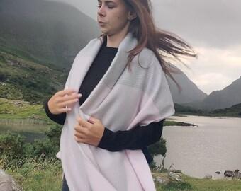 Extra Fine Merino Wool Wrap Shawl, oversized scarf,stole - baby pink/grey glencheck-100% Pure New Supersoft Merino Wool -HANDMADE IN IRELAND