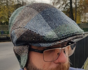 Traditional Irish tweed flat cap - green/brown check - 100% wool -padded with foldable ear flaps- ready for shipping -HANDMADE IN IRELAND