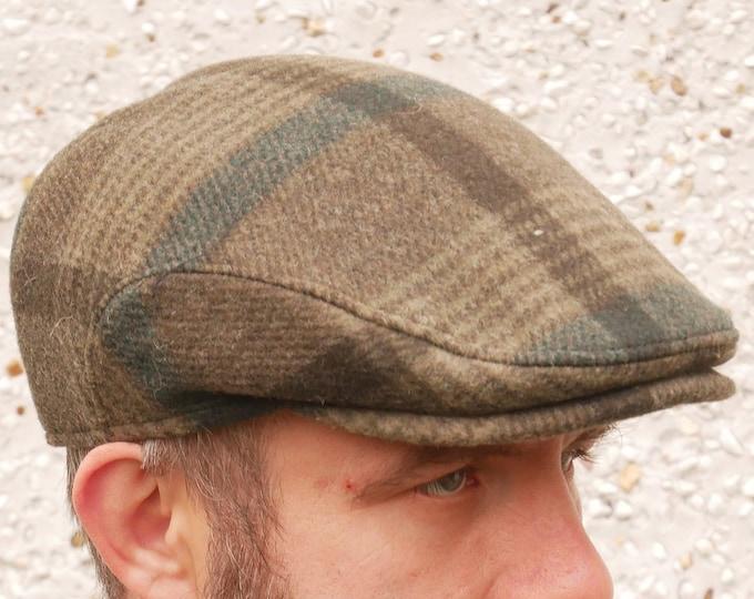 Traditional Irish tweed flat cap - green tartan/plaid check - 100% wool - padded - HANDMADE IN IRELAND