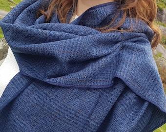 Irish tweed shawl, oversized scarf, stole - blue/navy plaid, tartan, check - 100% wool - hand fringed - HANDMADE IN IRELAND