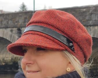 Ladies Tweed Newsboy Hat - red herringbone - 100% pure new wool - HANDMADE IN IRELAND