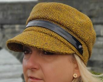 Ladies Tweed Newsboy Hat - yellow herringbone - 100% Pure New Wool - HANDMADE IN IRELAND