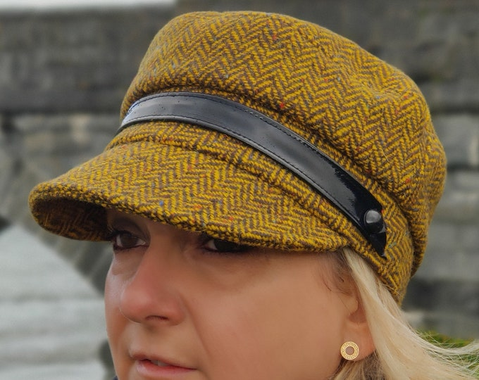 Ladies Tweed Newsboy Hat - yellow herringbone - 100% Pure New Wool - HANDMADE IN IRELAND