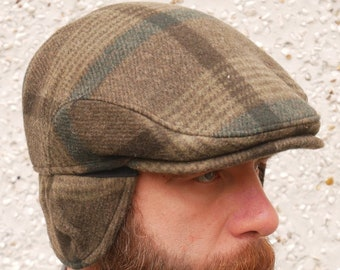 Traditional Irish tweed flat cap -green tartan/plaid check -with foldable/optional ear flaps -100% wool -padded -HANDMADE IN IRELAND