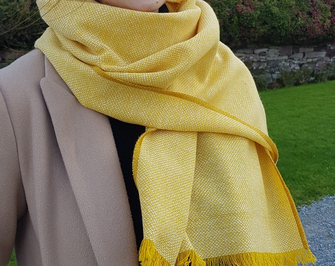Irish tweed shawl, oversized scarf, stole -yellow/white chevron- 100% pure new wool - hand fringed -ready for shipping - HANDMADE IN IRELAND