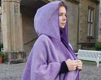 Irish tweed wool hooded ruana, wrap, arisaid - speckled purple & white herringbone - HANDMADE IN IRELAND