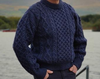 Traditional Aran Sweater - 100% pure new wool - navy/denim - chunky&heavy - MADE IN IRELAND