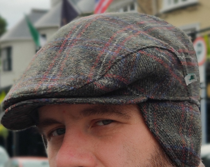 Traditional Irish tweed flat cap - greeen/red/blue , plaid check /tartan - 100% wool - padded - with foldable ear flaps -HANDMADE IN IRELAND