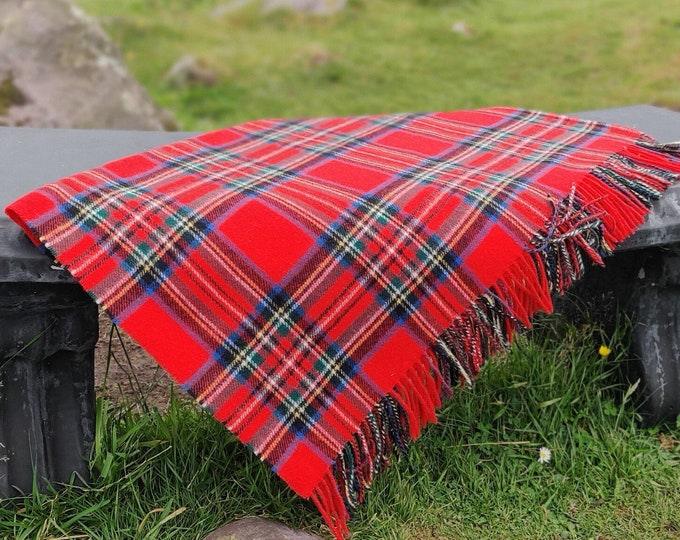 Supersoft Lambswool Blanket / Throw - Royal Stewart Tartan / Plaid Check - 137x180 cm (54x71'') - 100% Pure New Lambswool - MADE IN IRELAND