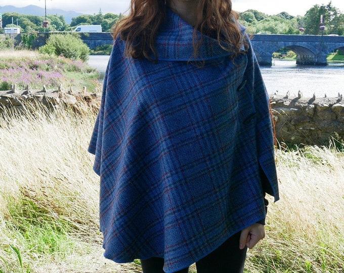 Versatile 3in1 - Irish tweed poncho, cape & shawl - blue/grey/red/black tartan - plaid check - ready for shipping - HANDMADE IN IRELAND