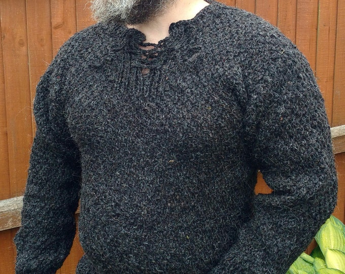 Authentic Irish Fisherman/medieval sweater-FREE SHIPPING - black/charcoal -100% raw organic wool-dragon scale-UNDYED-Hand Knitted In Ireland