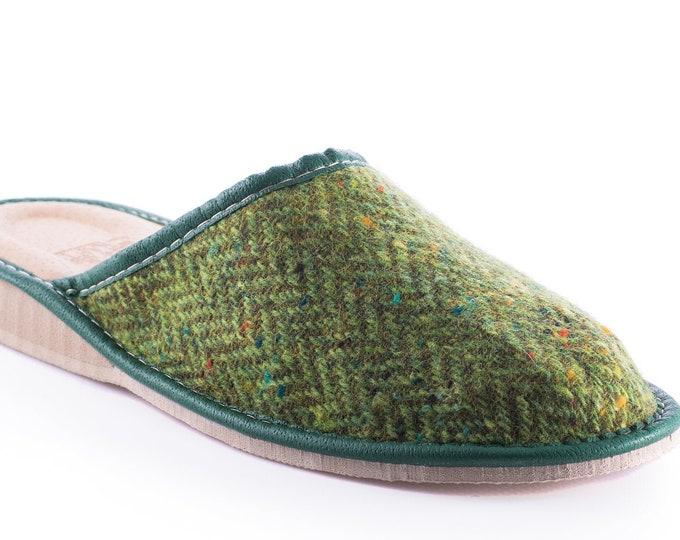 Womens Irish tweed & leather slippers  - green speckled herringbone - HANDMADE IN IRELAND