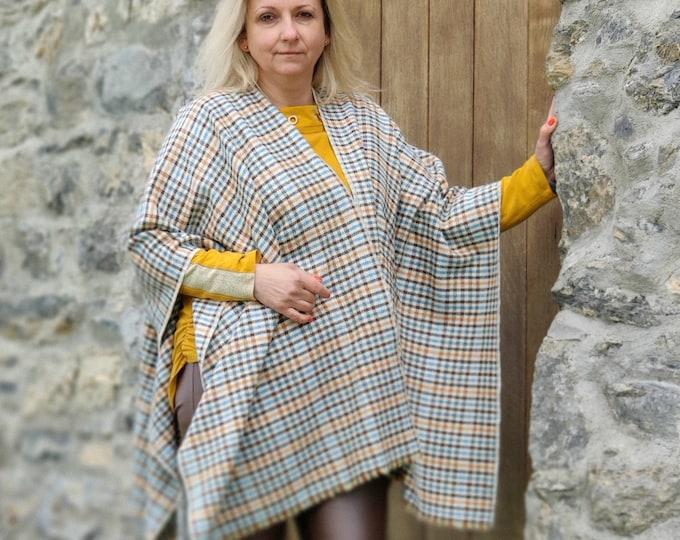 Burette silk Summer/Spring ruana wrap - cream/teal/brown/white/orange/blue houndstooth check -perfect for sensitive skin-HANDMADE IN IRELAND