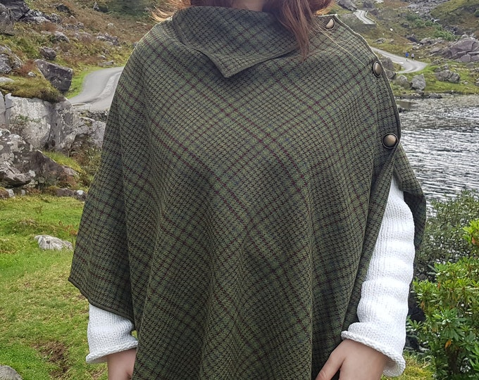 Irish soft lambswool poncho, cape, shawl in 1 piece! green/yellow/burgundy/purple tartan,plaid check -100% pure new wool-HANDMADE IN IRELAND