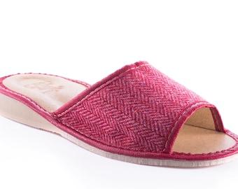 Womens Irish tweed & leather slippers  - pink/red herringbone - HANDMADE IN IRELAND