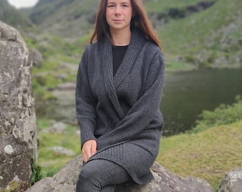 Rib Edge Knitted  Ladies Jacket - Long with Pockets - 100% Pure New Soft Lambswool - Charcoal - really warm & chunky - HANDMADE IN IRELAND