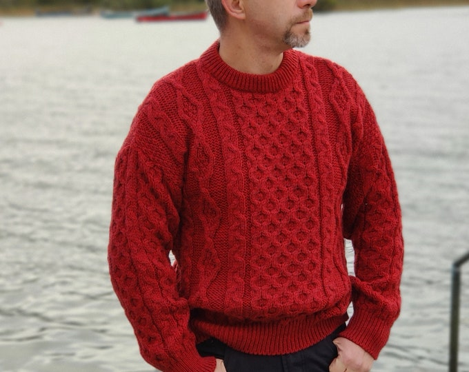 Traditional Aran Sweater - 100% pure new wool - red - chunky&heavy - MADE IN IRELAND - ready for shipping