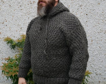 Irish Medieval sweater - hooded - dragon scale pattern -100% raw wool-organic-hand spun wool yarn -UNDYED - grey -Hand knitted in Ireland