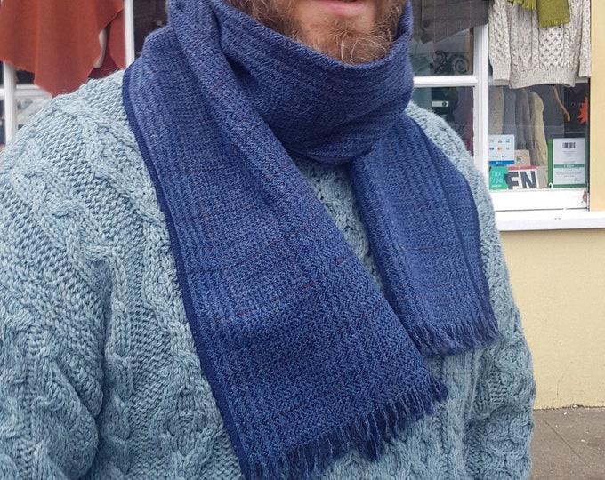 Irish tweed wool scarf - 100% pure new wool - blue/navy Irish tartan / plaid check - unisex -hand fringed - HANDMADE IN IRELAND