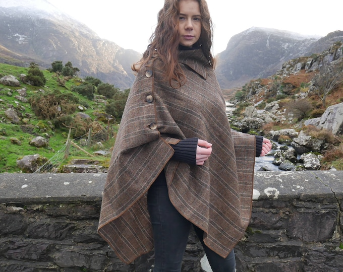 Versatile 3in1-Irish tweed poncho, cape & shawl - brown Irish tartan / plaid check - 100% wool - Handmade in Ireland