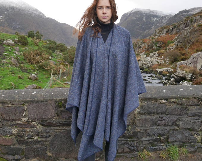 Irish Donegal tweed wool ruana, wrap, cape, coat, arisaid- blue/speckled/ multi-colour melange- 100% wool - HANDMADE IN IRELAND