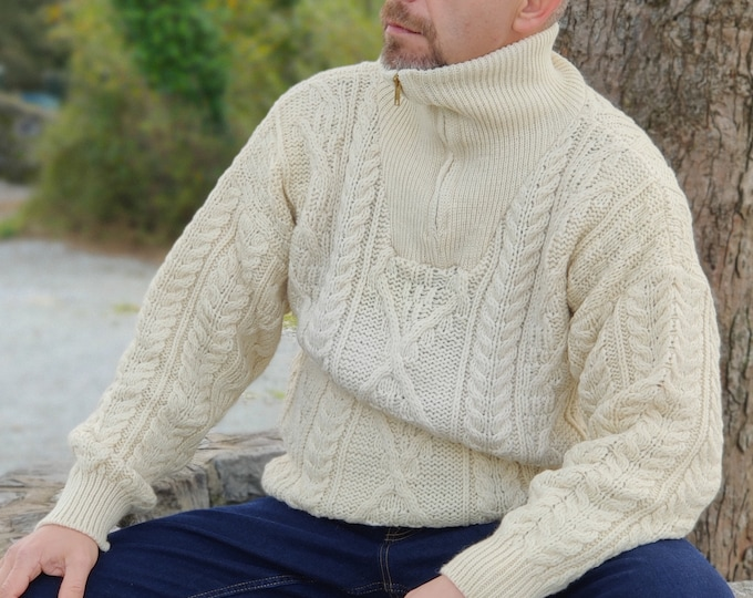 Organic Irish Wool Aran Zip Sweater - Cream - Undyed - 100% pure new wool - chunky and heavy - MADE IN IRELAND