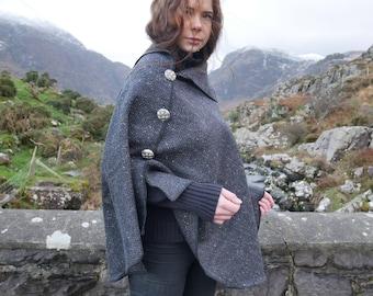 Versatile 3in1-Irish tweed poncho, cape & shawl - black/grey herringbone - 100% wool  - Handmade in Ireland