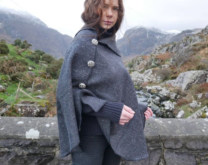 Versatile 3in1-Irish tweed poncho, cape & shawl - black/grey herringbone - 100% wool  - Handmade in Ireland