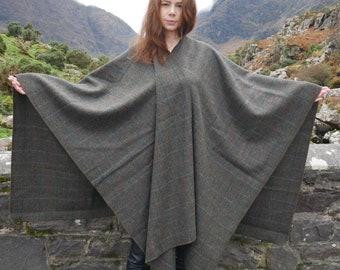 Irish Donegal tweed wool ruana, wrap, cape, arisaid - moss green/green herringbone with overcheck - 100% Pure New Wool - HANDMADE IN IRELAND