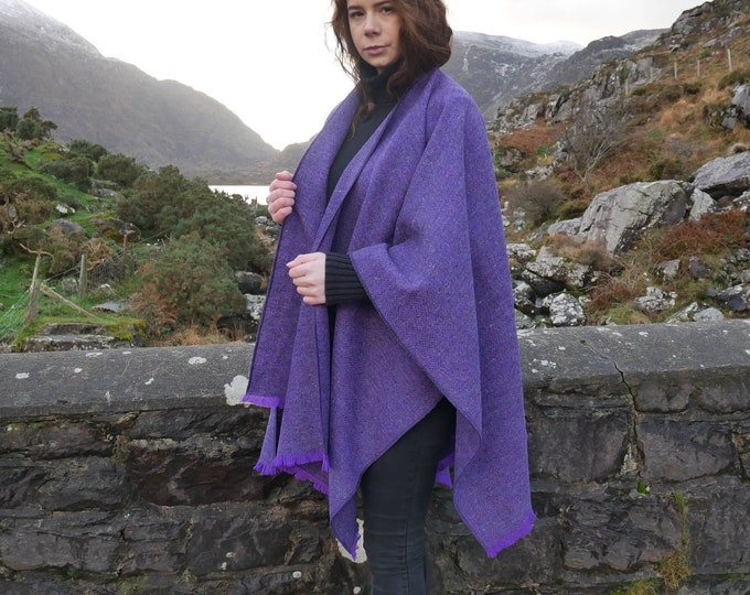 Irish tweed ruana, wrap, cape, coat, arisaid- purple herringbone - 100% wool - Handmade in Ireland - FREE WORLDWIDE SHIPPING