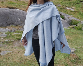 Irish tweed wool ruana,wrap,cape,coat,arisaid - blue & white chevron - 100% wool - ready for shipping - free shipping - HANDMADE IN IRELAND
