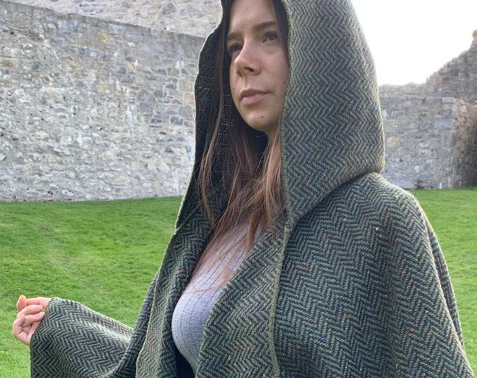 Irish Donegal Tweed Wool Hooded Ruana, Cape, Rectangle Cloak - Speckled Forest Green Herringbone - Heavy Tweed -Unisex- HANDMADE IN IRELAND