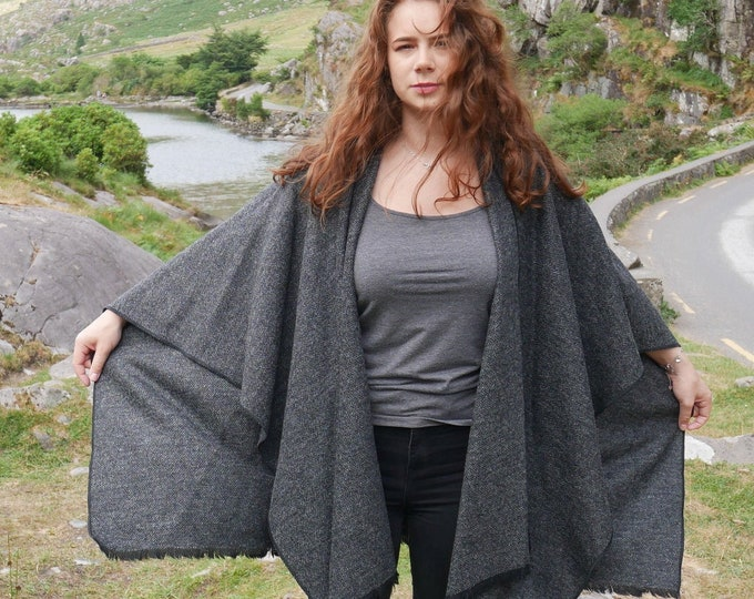 Irish tweed wool ruana, wrap, cape, coat, arisaid - black & grey herringbone - 100% wool - ready for shipping - HANDMADE IN IRELAND